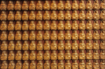 Million of golden Buddha statue in chinese temple Thailand