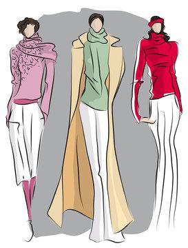 hand-drawn sketch of fashionable dresse