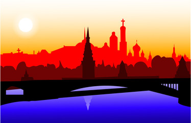 skyline moscow silhouette