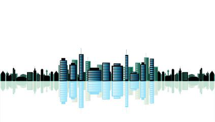 Metropolis cityscape on white