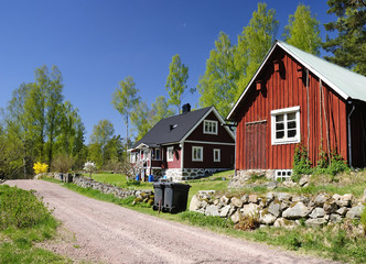 Spring village landscape in southern Sweden