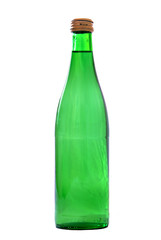 green bottle with water isolated on white background