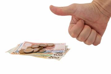 money, coins, hand