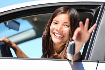 Girl car driver showing keys