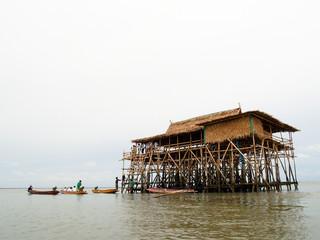 Bamboo Hut in the Sea near Mangrove area of Thailand