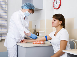 Nurse and patient blood samples