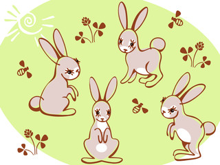 collection hares on a green background. Similar to portfolio