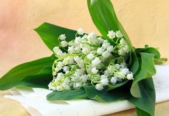 Deurstickers Lelietje van dalen lovely bunch of lily of the valley on a stone background