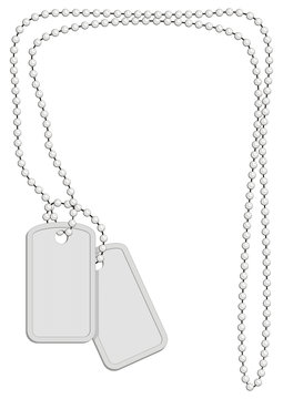 Military identity tags (plates) with chain of spheres