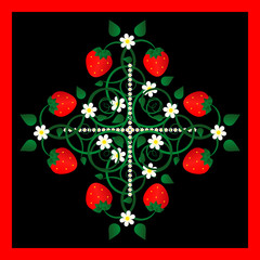 strawberry with flowers decorative pattern