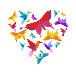 Canvas Prints Geometric animals Spring Origami bird love
