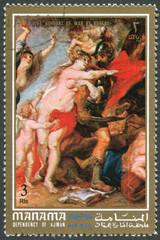"""Postage stamp Ajman 1972: Rubens """"Peace and War"""""""