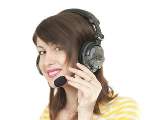 girl in headphones