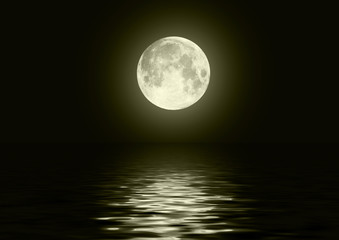 The full moon in the night sky reflected in water