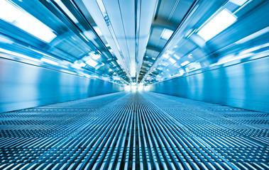 futuristic effecit in indoor walkway tunnel