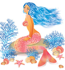 Beautiful mermaid, vector illustration