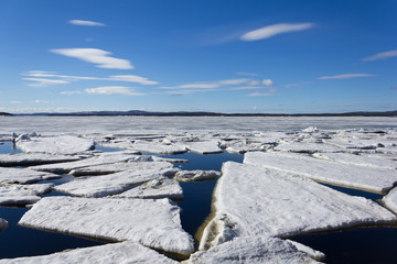 Sea ice is destroyed in the spring