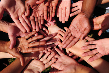 group of begging hands