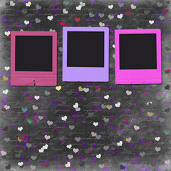 Old grunge slides on the cheerful multicolored background