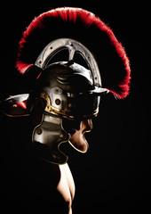 Model in helmet