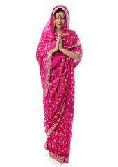 young woman in sari dress