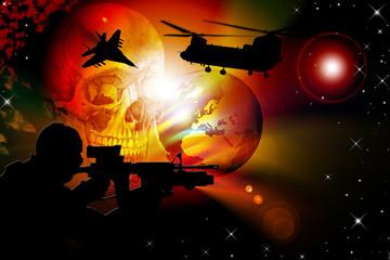 Foto op Canvas Militair Illustration of world war