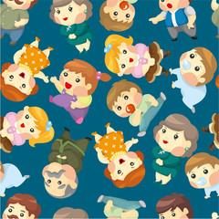 cartoon family set seamless pattern