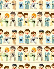 cartoon Karate Player seamless pattern