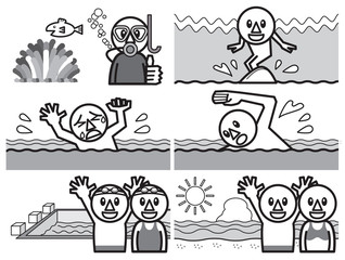 アイコン 泳ぐ モノクロ