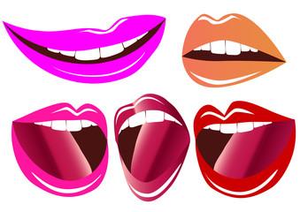 illustration bright smiling lips and language