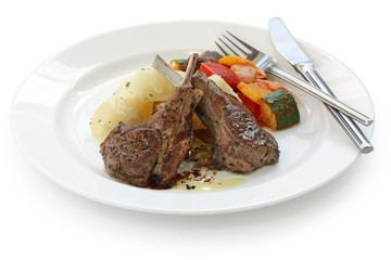 roasted lamb chops , french lamb rib chops