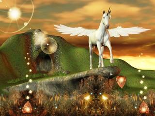 Foto op Aluminium Feeën en elfen Fantastico pegaso in un mondo magico