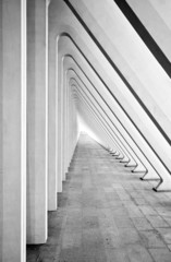 Modern tunnel with concrete arches in perspective