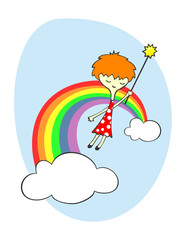 Canvas Prints Rainbow Fairy over the rainbow