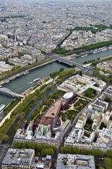 Paris. River Seine with the height. Urban scene.