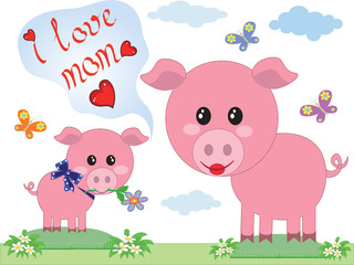 Mothers day,two pigs.
