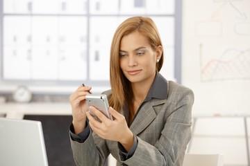 Smiling businesswoman using palmtop