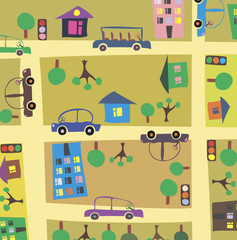 Photo sur Aluminium Route cartoon street