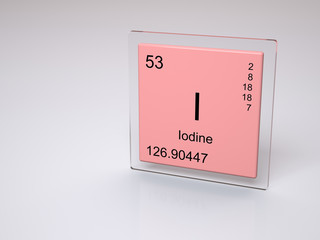 Iodine - symbol I - chemical element of the periodic table