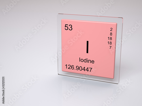 Iodine Symbol I Chemical Element Of The Periodic Table Stock