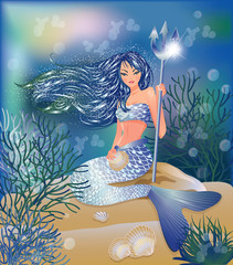 Deurstickers Zeemeermin Beautiful Mermaid with Trident and seashell, vector