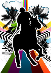 Summer abstract background design with polo player silhouette