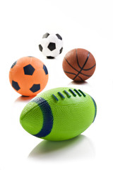 Collection of sport ball with soccer rugby an basket ball