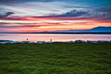 Sunrise over Lake Geneva, Versoix, Switzerland