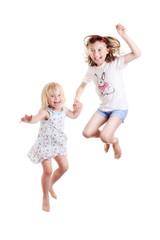 little girls jumping