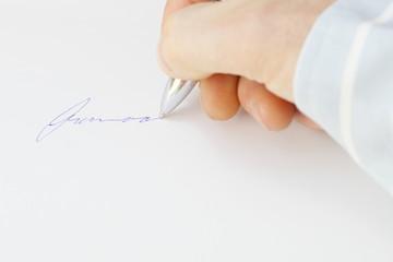 Unterschrift mit Stift