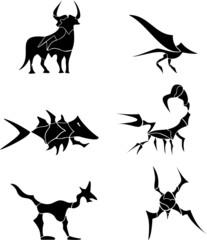 Animals, tribal tattoo set