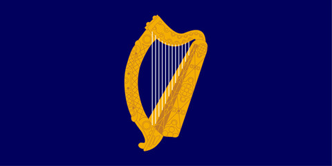 Gold harp on Ireland flag