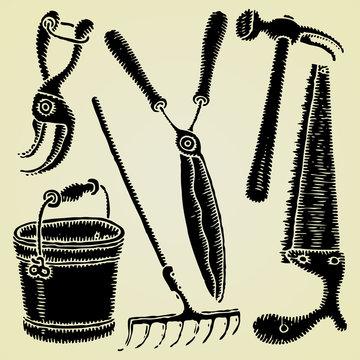 garden tools original woodcut