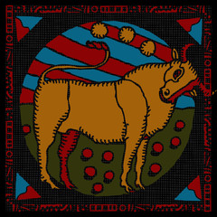 Taurus horoscope woodcut
